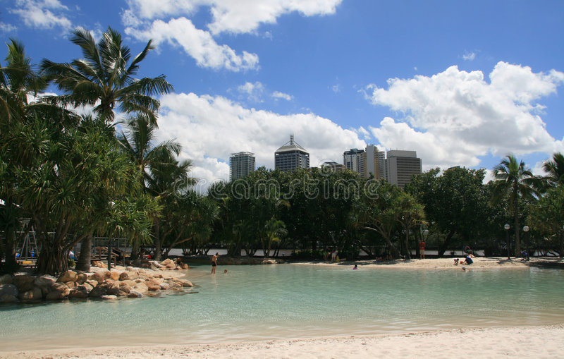 City Beach. Near empty Southbank beach in inner city Brisbane royalty free stock photo