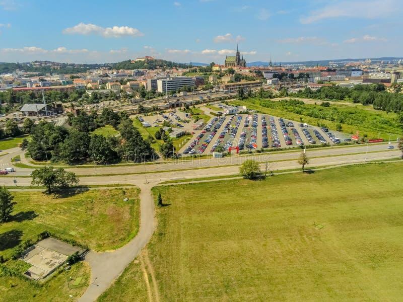 The city beach Brno in city center from above, Czech Republic stock photos