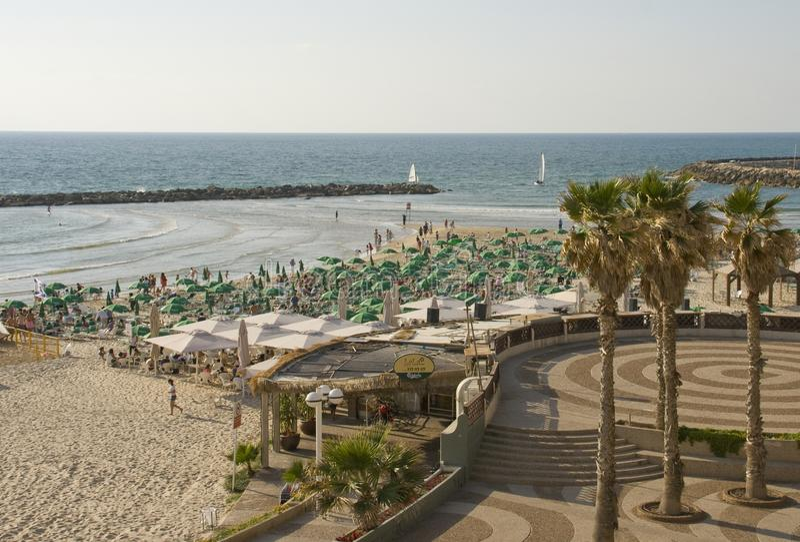 City beach in the city of Tel- Aviv Israel stock photo