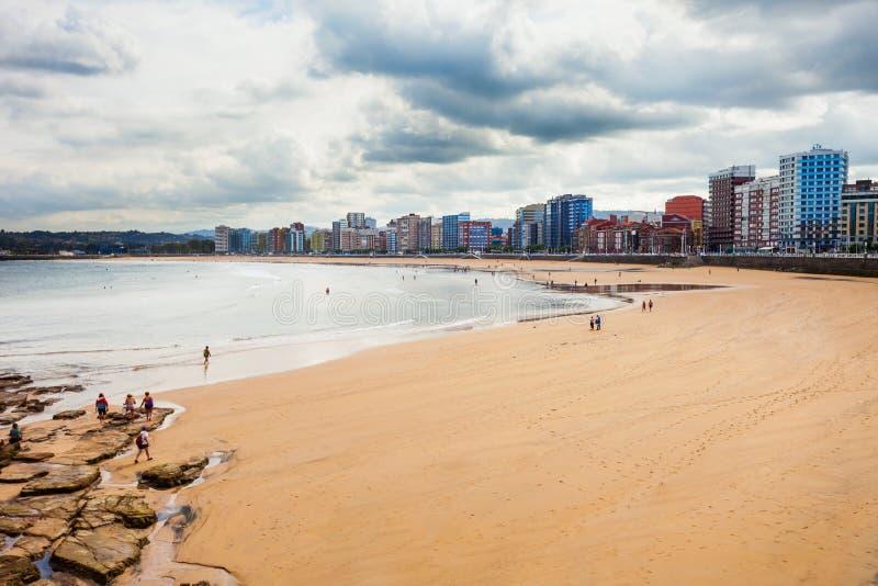 City beach in Gijon, Spain stock images