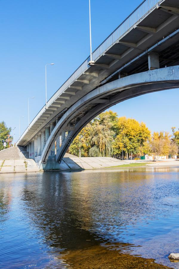 City Beach for relaxing water park bridge on the river Dnepr in Kiev royalty free stock image