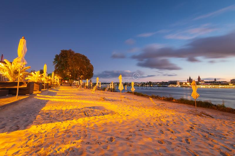City beach Rheinstrand in Mainz-Kastel and cityscape of Mainz, royalty free stock images