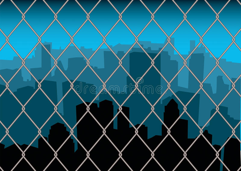 Download City behind fence stock vector. Illustration of blue - 12587694