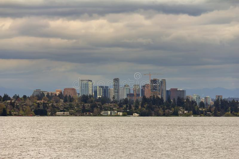 Bellevue Skyline along Lake Washington USA. City of Bellevue Washington skyline along Lake Washington United States USA royalty free stock photography