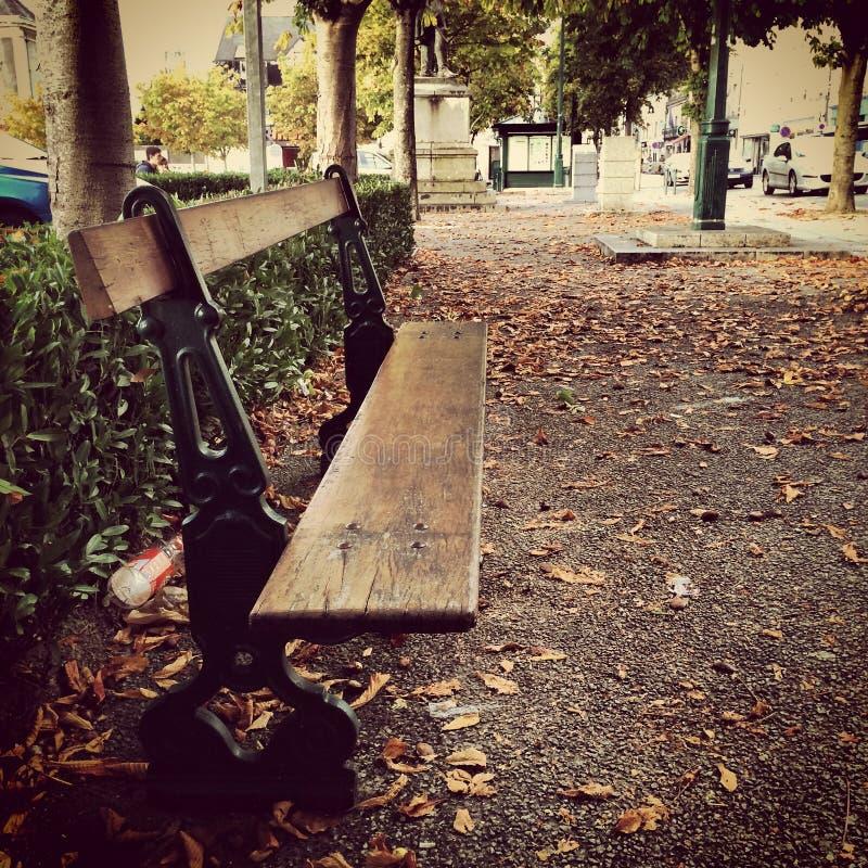 City bench/Banco en ciudad. stock photos