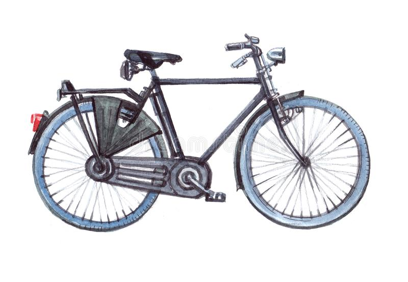 City bicycle bike. Watercolor illustration isolated. On white background royalty free illustration