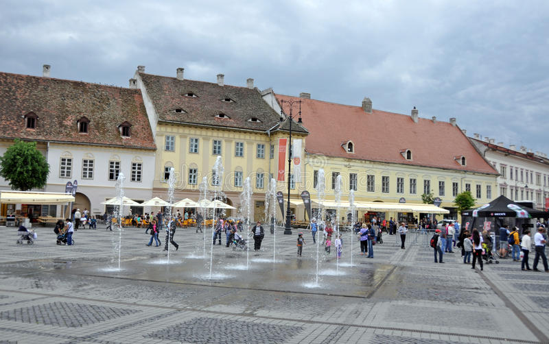 City big square. Sibiu city - big square - in middle Romania, Transylvania land is now host of International Festival of Theater May 25th - June 3rd 2012 stock images
