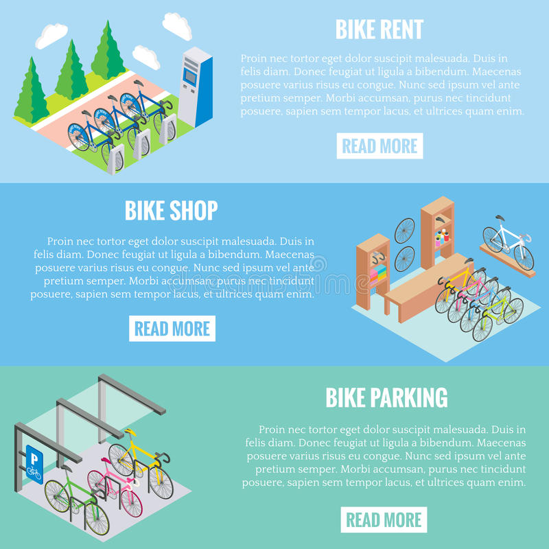 City bike concept vector banners in isometric style. Illustration in flat 3d design. Bicycle parking, repair shop and royalty free illustration
