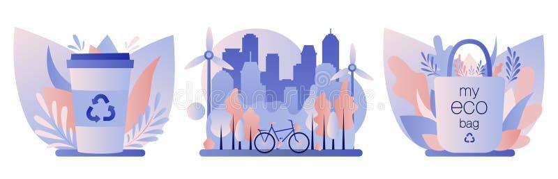 Urban ecology set. Zero Waste. Flat style. Vector illustration royalty free illustration