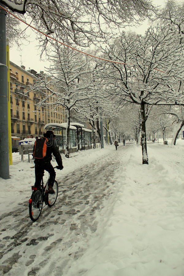 City biker in the snow stock photos