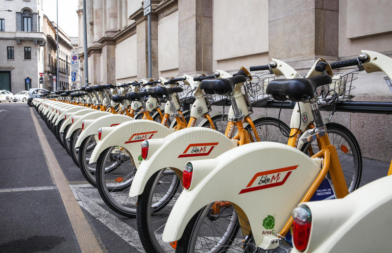 City bikes in Milan, Italy stock photos