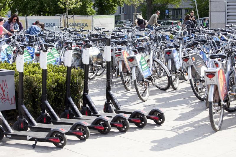 City bikes ready for rent stock image