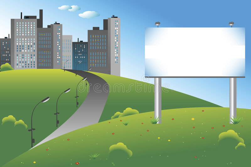 City billboard vector illustration