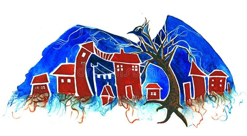 City bird vector illustration