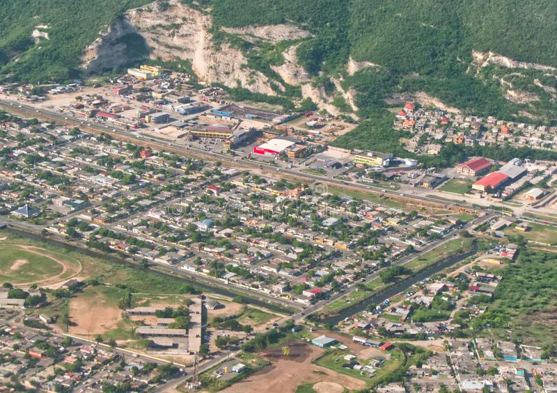 City Bird`s eye view of Portmore, St. Catherine. View from the air in Portmore, Jamaica stock photo