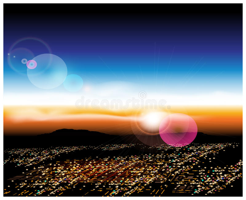City with a bird's-eye view. Vector illustration of a city with a bird's-eye view at sunrise. Illustration seamless horizontally if needed stock illustration