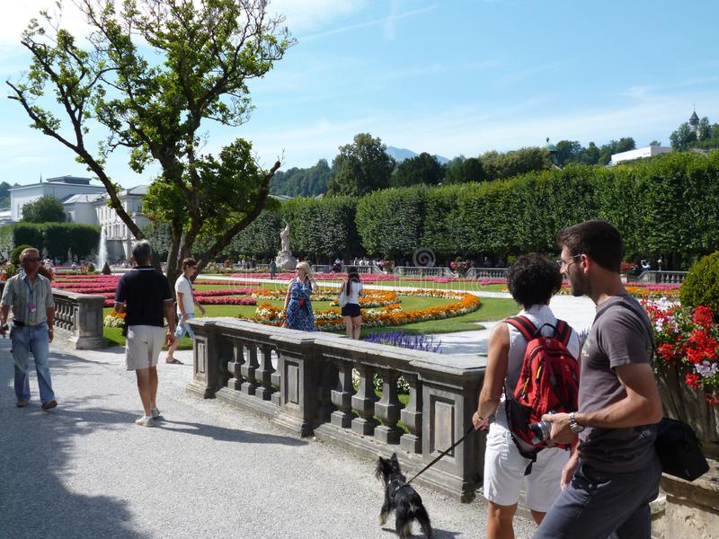 City blooming Park in the city of Salzburg. Austria, August 2012 stock images