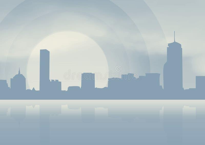 City on blue background