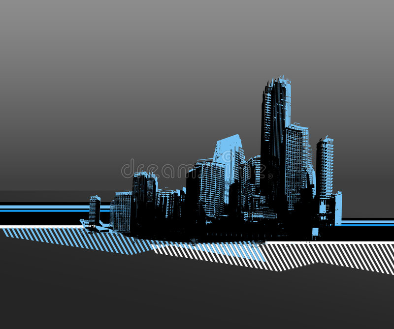 City with blue silhouette stock illustration