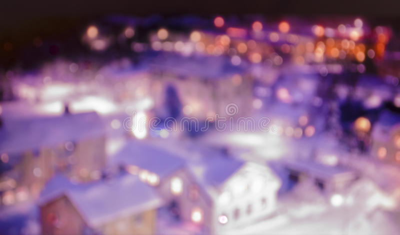 City with bokeh lights at night royalty free stock image