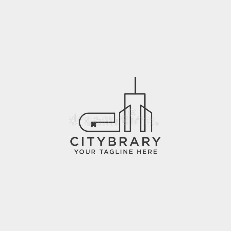 City book, or home book line art logo template vector illustration icon element isolated. Vector file royalty free stock images