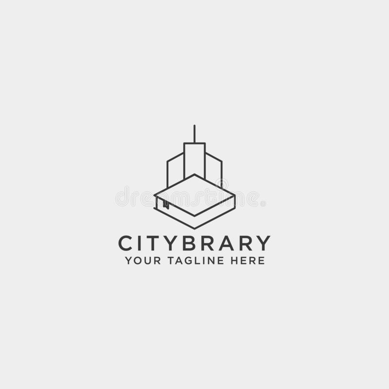 City book, or home book line art logo template vector illustration icon element isolated. Vector file royalty free stock image