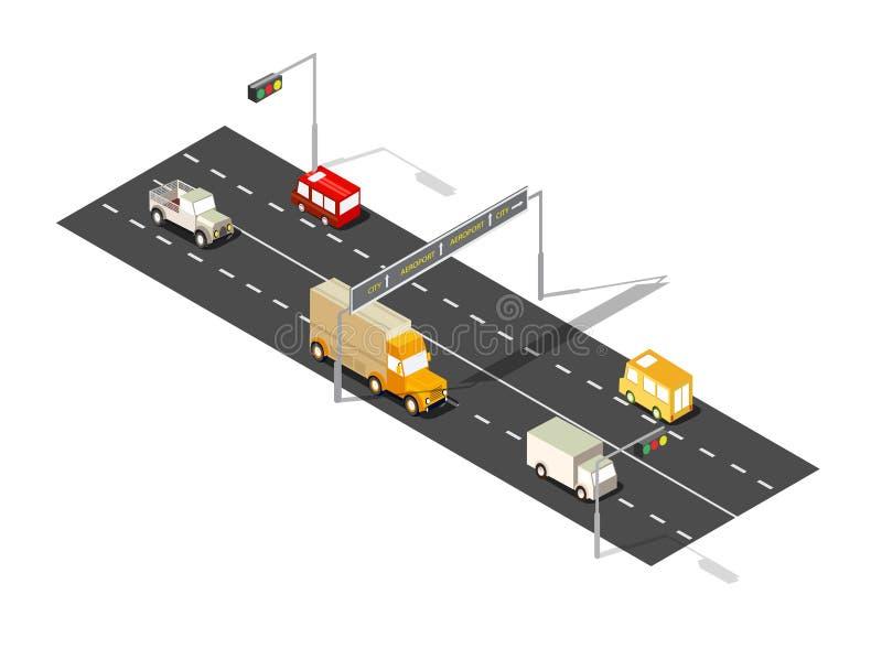 City boulevard isometric. Avenue. Transport car, urban and asphalt, traffic. Crossing roads flat 3d dimensional illustration of public town transport vector illustration