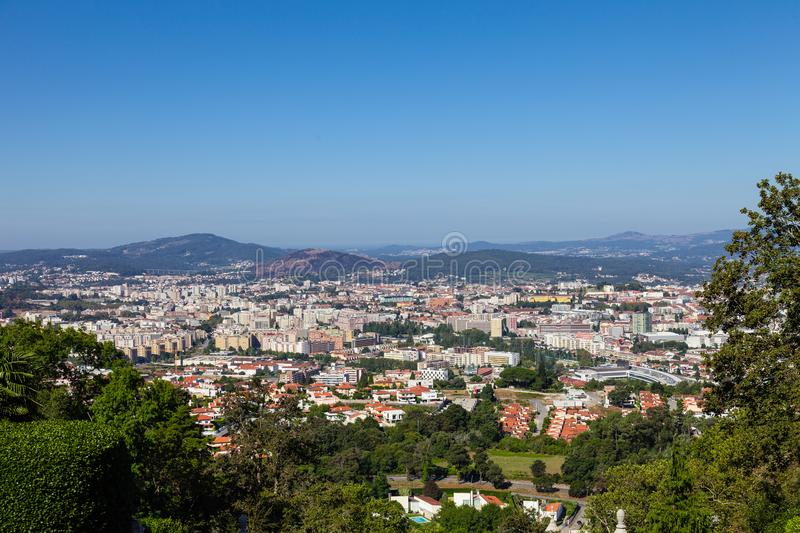 The city of Braga seen from the top of the staircase of the Bom Jesus do Monte Sanctuary. Braga is the largest city from the Minho region and capital of the royalty free stock photography