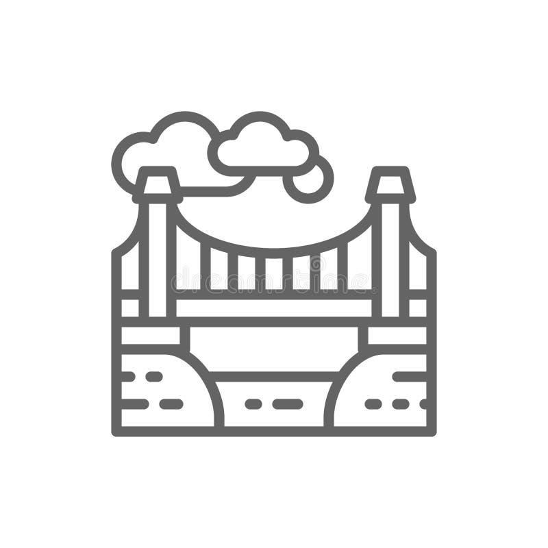 City bridge landscape line icon. stock illustration