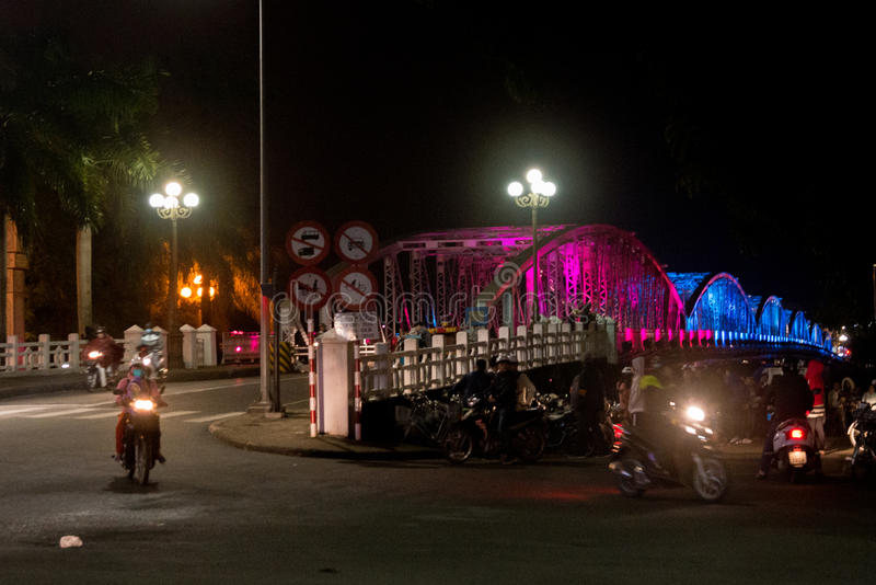 City bridge at night with colorful colorful the Vietnam city of hue. Truong Tien Brigde. royalty free stock images
