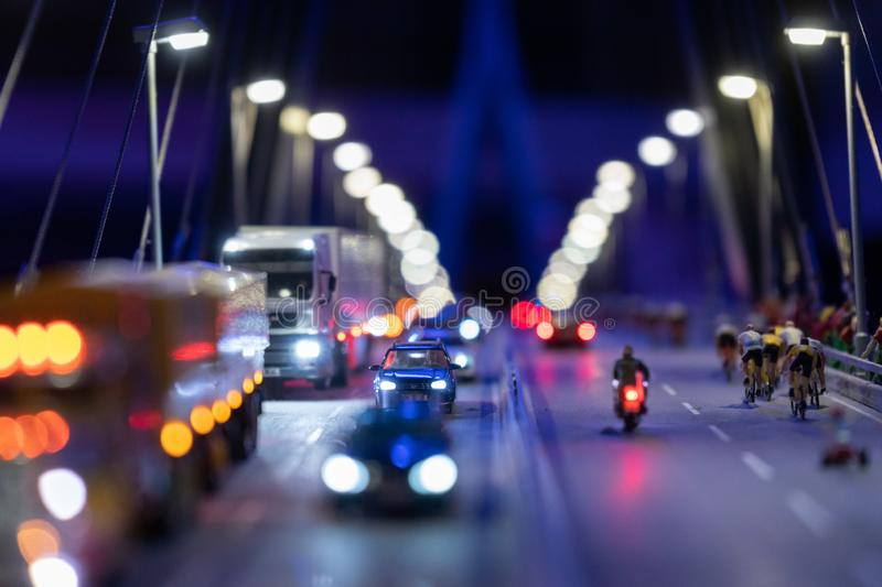 City bridge by night time in miniature stock photography