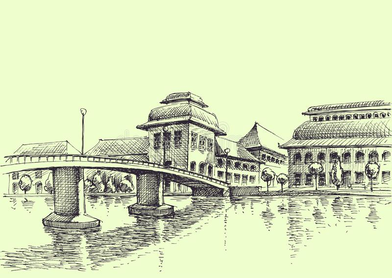 City bridge over the river hand drawing stock illustration