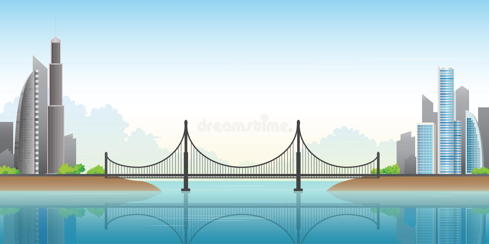 City Bridge over the river.Panorama of modern city with bridge.Vector illustration. royalty free illustration