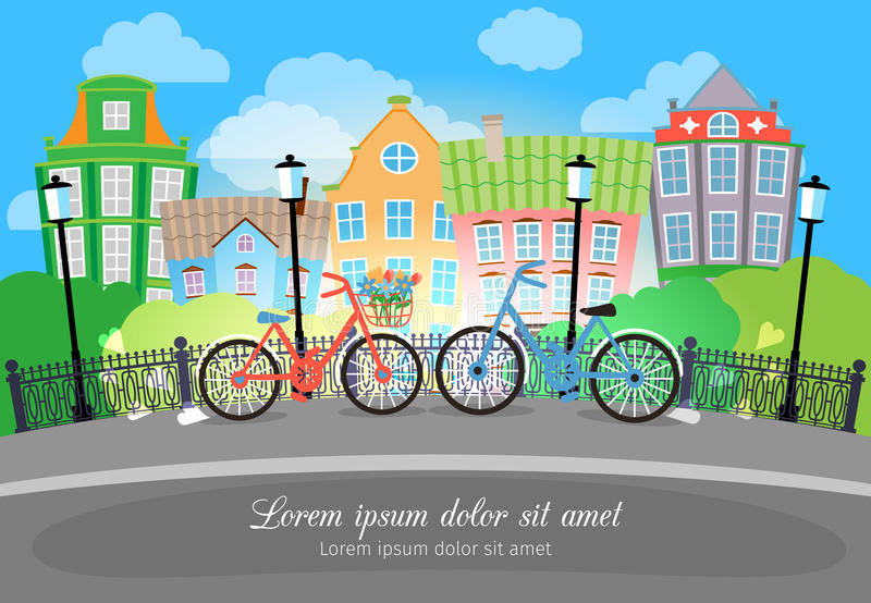 City Bridge Street with Bikes and Lights. Beautiful City Bridge Street with Bikes and Lights. Designed with Colored Buildings on Background vector illustration