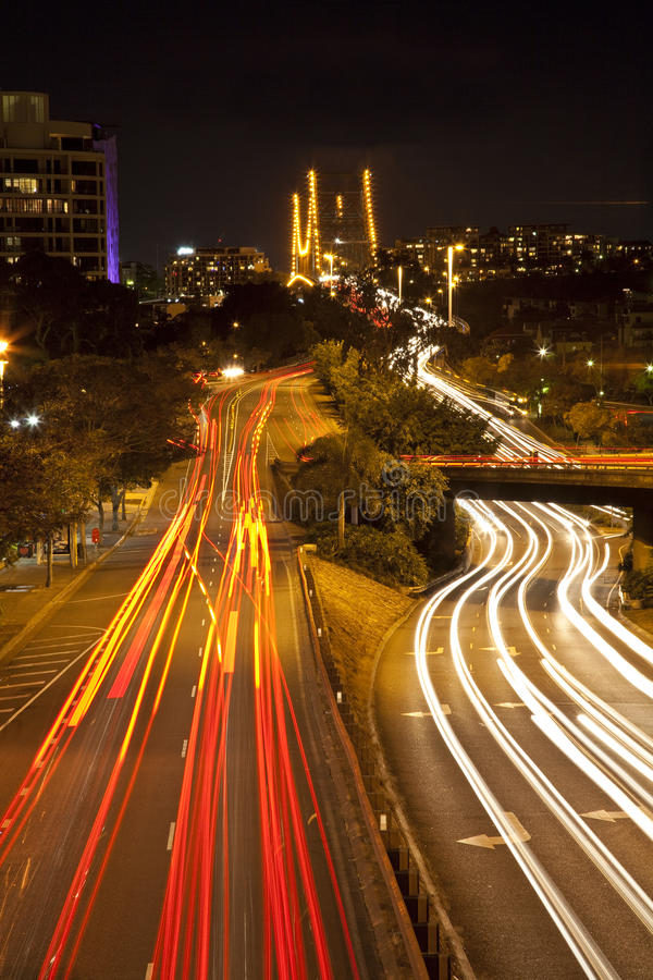 City of Brisbane at night royalty free stock photos