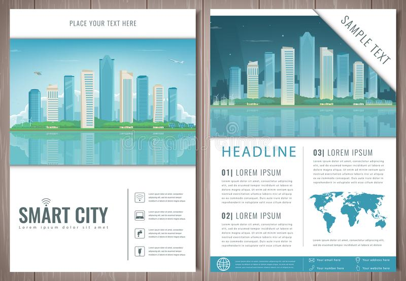 City Brochure With Day And Night Urban Landscape. Template Of ... on recipe list template, recipe sheet template, multiple phone order template, book recommendation template,