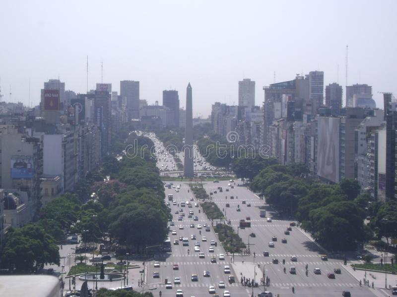 Buenos Aires City. City of Buenos Aires, 9 of July Avenue and the Obelisk royalty free stock photo