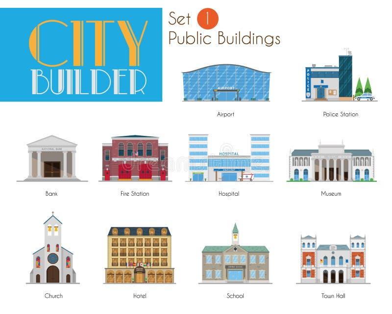City Builder Set 1: Public and Municipal Buildings. City Builder Serie. Set 1. Public and Municipal Buildings vector illustration