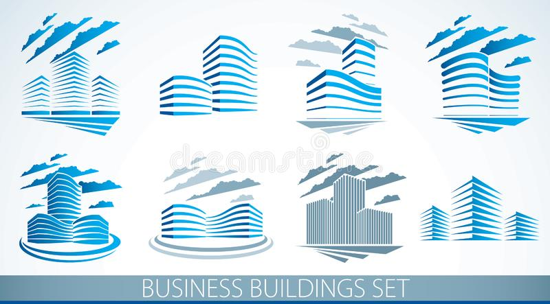 City building business financial office vector designs set. Futuristic architecture illustrations collection. Real estate realty royalty free illustration