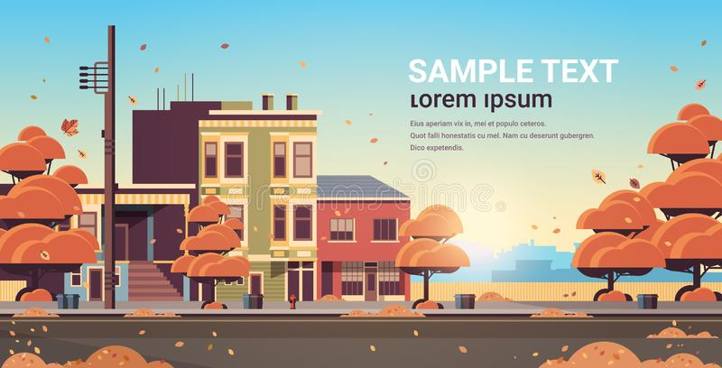 City building houses exterior modern town street in autumn sunset cityscape background horizontal flat copy space royalty free illustration