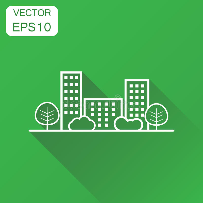 City building icon. Business concept line town pictogram. Vector vector illustration