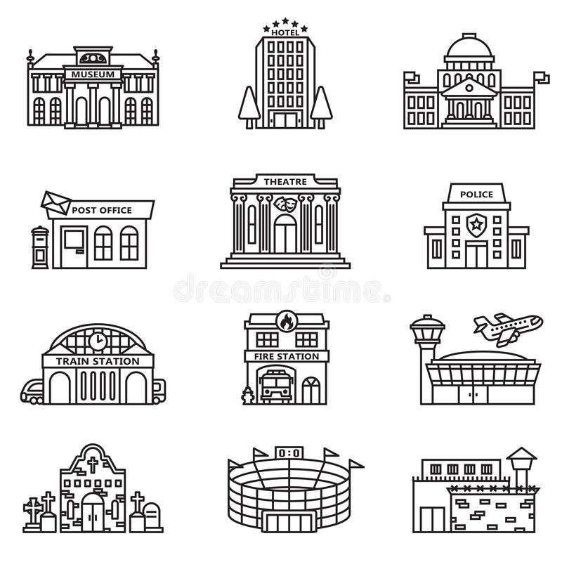 City building icons set with white background. vector illustration
