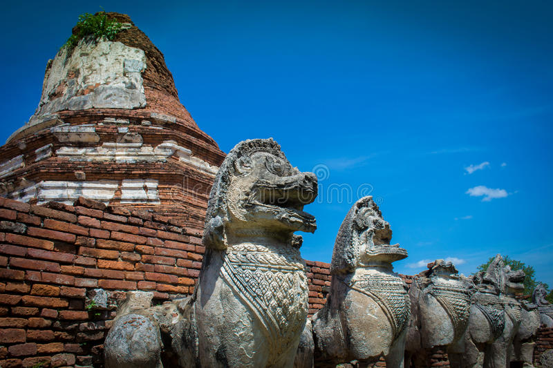 City building remain of Temple in Ayutthaya, Historical Park in. Ayutthaya, Thailand stock photo