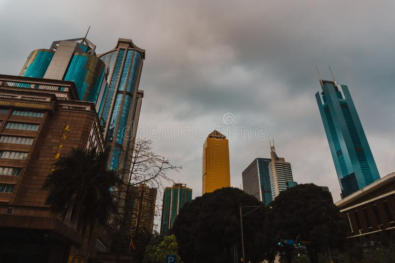 City Building S Under Gray Cloudy Sky stock image
