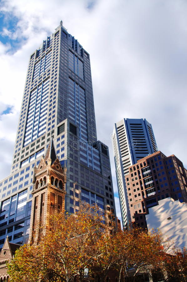 City buildings. Beautiful different style buildings in Melbourne stock photo