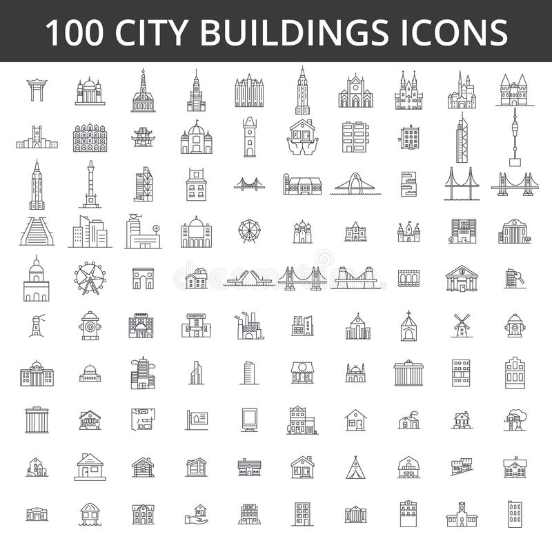 City buildings, architecture, real estate, urban silhouette houses, home, village, town, factory, bridge, skyline line. City buildings, architecture, real estate royalty free illustration