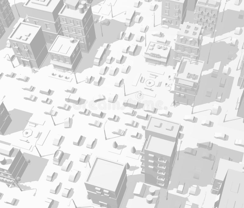 City buildings background street. In light gray tones. Road Intersection traffic jam. High detail 3d city view. Cars end cityscape. Cars end town top view vector illustration
