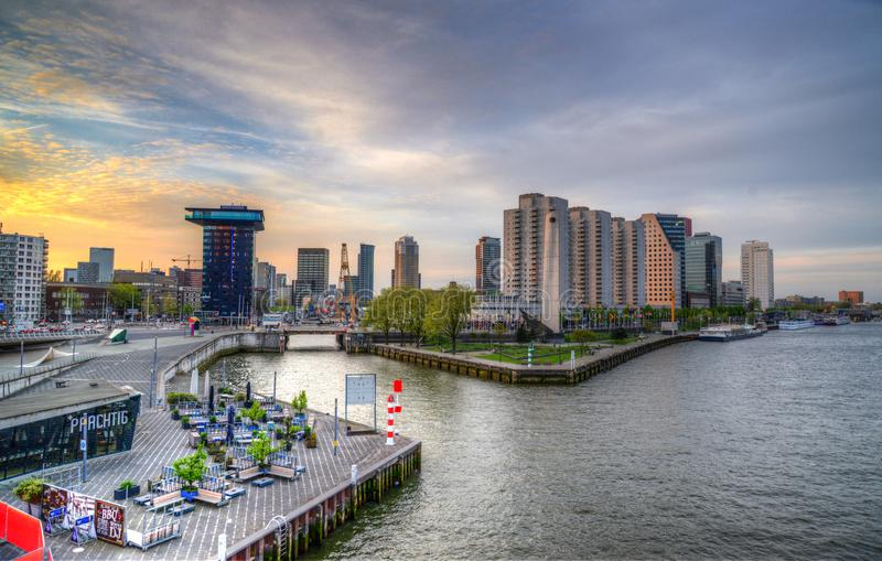 City Buildings and Body of Water royalty free stock photo