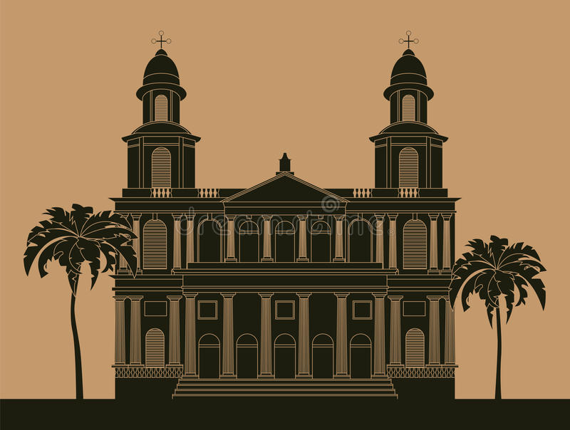 City buildings graphic template. Nicaragua vector illustration