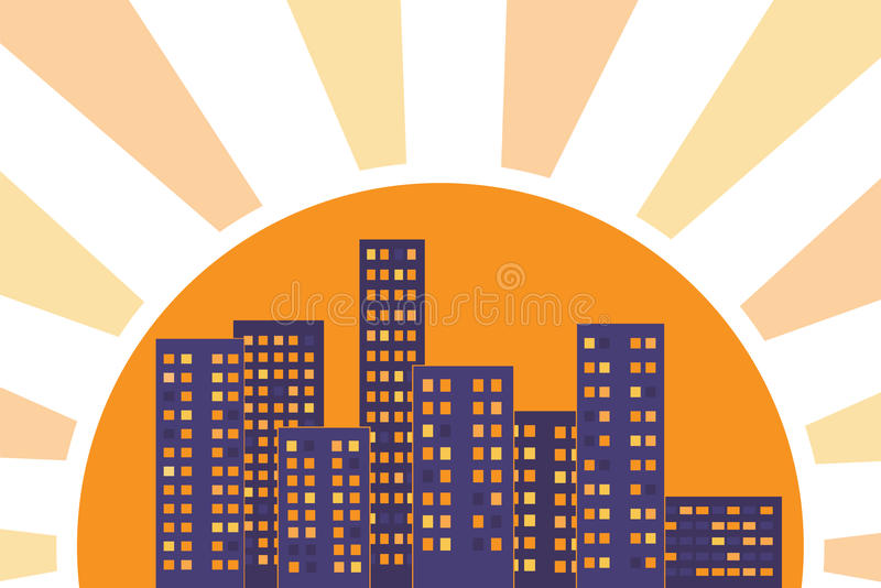City Buildings Lit By Rays Of The Sun At Sunset Stock Image